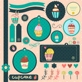 Set of sweet cupcakes. Cute vector elements for scrapbook, menu or card design Stock Images
