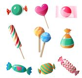 Set of sweet, delicious chocolates in a multi-colored wrapper and different shapes stock illustration