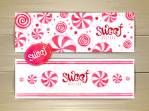 Set of sweet or dessert banners. Candy Royalty Free Stock Images
