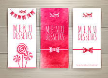 Set of sweet or dessert  menu banners Stock Photos