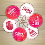 Set of sweet or dessert stickers Stock Image