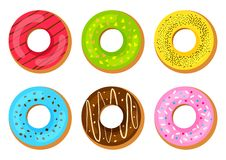 Set of sweet donuts with glaze. Vector illustration royalty free illustration