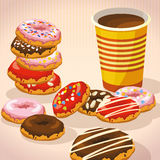 Set of sweet donuts, cup of coffee. Stock Photos