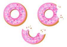 Set of sweet donuts with pink glaze, bitten donut. Vector illustration stock illustration