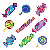Set of sweet food icons. Candy, sweets, lollipop, jelly. Stock Photo
