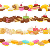 Set of sweet food seamless horizontal borders Royalty Free Stock Photos