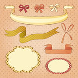 Set of sweet frames and ribbons Royalty Free Stock Photography