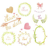 Set of sweet heart ribbon wreath floral frame collection vector Royalty Free Stock Images