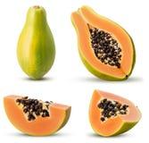 Set sweet papaya whole, three quarters, slice royalty free stock image