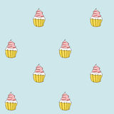 Set of sweet patterns. Seamless backgrounds with cream cupcake. Stock Photography