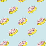 Set of sweet patterns. Seamless backgrounds with donuts.  Royalty Free Stock Image