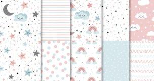 Set of sweet pink seamless pattern Sleeping cloud moon stars background collection Baby girl fabric design vector. Set of sweet pink seamless patterns Sleepy royalty free illustration