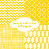Set of sweet seamless  patterns. In sunny yellow color. Vector eps 10 Royalty Free Stock Photo