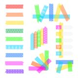Set sweet sticky tapes. Set sweet sticky colored adhesive transparent washi tapes, stickers, and bookmarks isolated on a white background, with cute texture vector illustration