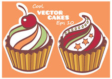 Set of sweet and tasty cakes.  Royalty Free Stock Image
