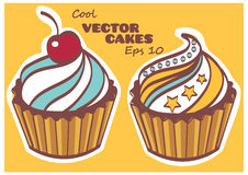 Set of sweet and tasty cakes.  Royalty Free Stock Photos