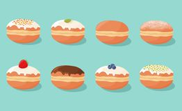 Set of sweet donuts doughnuts with different fillings, toppings and flavors. Vector illustration. Royalty Free Illustration