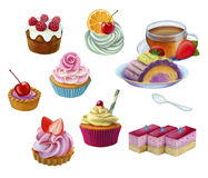 Set  sweeties. Hand drawn chocolate and cookies elements , sweets and candies, cake with fruit illustration on white background Royalty Free Stock Photos