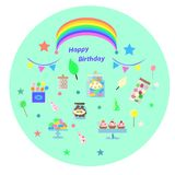 Set of sweets for birthday royalty free illustration
