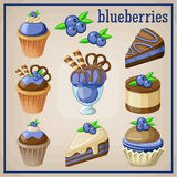 Set of sweets with blueberries. Stock Photos