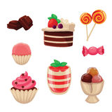 Set of sweets, cakes, cupcakes, candy, chocolate and ice cream Stock Photography