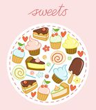 Set of sweets with cakes, cupcakes, lollipops, ice cream, hearts and flowers Royalty Free Stock Image