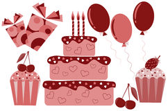 Set of sweets, cakes and gifts Stock Image