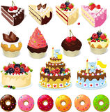 Set of sweets and cakes - vector illustration. On white Stock Photos