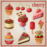Set of sweets with cherry. Image set of different types of sweets Royalty Free Stock Images