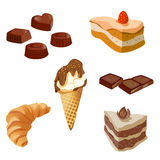 Set of sweets, chocolates, cakes Royalty Free Stock Image