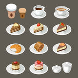Set of sweets and coffee Royalty Free Stock Images