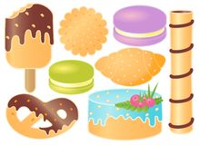 Set Of Sweets. Croissant, Pretzel, Cupcake, Icecream, Macaroons, Sweet Steak, Cookie. Set Of Sweets. Croissant, Pretzel, Cupcake, Icecream, Macaroons, Sweet vector illustration