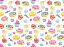 Set of sweets with donuts, candy, capcake, lollipop, chupa chups, macaroons and cup of coffee. Colorful watercolor pattern. Stock Images