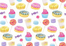 Set of sweets with donuts, candy, capcake, lollipop, chupa chups, macaroons and cup of coffee. Colorful watercolor pattern. Stock Photos