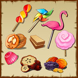 Set of sweets and dried fruits, nine icons. Set of sweets and dried fruits, nine vector icons Royalty Free Stock Image