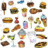 Set of sweets and fast food sketch Royalty Free Stock Image