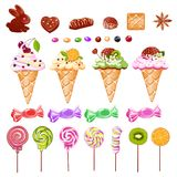 Set of sweets from ice cream, candy and chocolate. A set of sweets from ice cream, candy and chocolate. Cheerful vector illustration Royalty Free Stock Photography