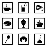 Set of sweets icons. Party food and deserts: ice cream, juice, croissant, lollipop, cupcake, popsicle, chocolate, milkshake, donut Stock Photos