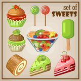 Set of sweets. Image set of different types of sweets Royalty Free Stock Photo