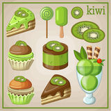 Set of sweets with kiwi. Image set of different types of sweets Stock Images