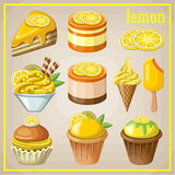 Set of sweets with lemon. Image set of different types of sweets Stock Images