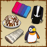 Set of sweets, newspapers, penguin and other items Stock Photography
