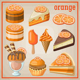 Set of sweets with an orange. Image set of different types of sweets Royalty Free Stock Photography