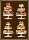 Set of sweets on plates. Stock Image