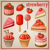 Set of sweets with strawberry. Stock Photography