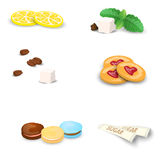 Set of sweets for tea or coffee. Small additions for hot drinks isolated on white background. Vector illustration. Set of sweets for tea or coffee. Small Royalty Free Stock Photography