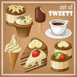 Set of sweets. Vector set of sweets and cakes, ice cream and cupcakes Stock Photos