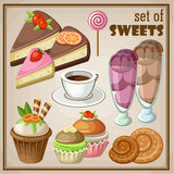 Set of sweets. Vector set of sweets and cakes, ice cream and cupcakes Royalty Free Stock Photos