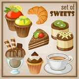 Set of sweets. Vector set of sweets and cakes, ice cream and cupcakes Royalty Free Stock Photography