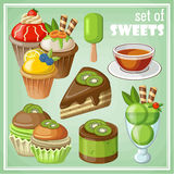 Set of sweets. Vector set of sweets and cakes, ice cream and cupcakes Royalty Free Stock Images